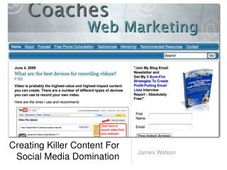 Creating Killer Content For  Social Media Domination