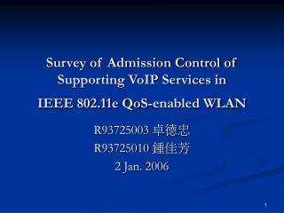 Survey of Admission Control of  Supporting VoIP Services in  IEEE 802.11e QoS-enabled WLAN