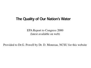 EPA Report to Congress 2000 (latest available on web)