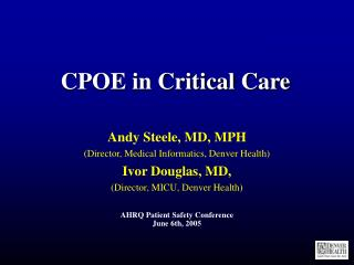 CPOE in Critical Care