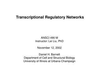 Transcriptional Regulatory Networks