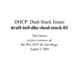 DHCP: Dual-Stack Issues draft-ietf-dhc-dual-stack-01