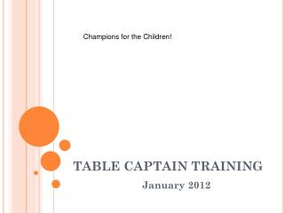 TABLE CAPTAIN TRAINING