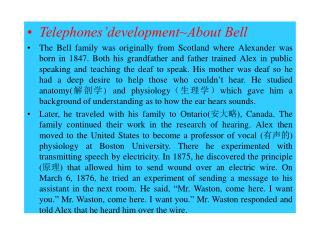 Telephones'development~About Bell