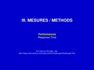 III. MESURES / METHODS Performances Response Time