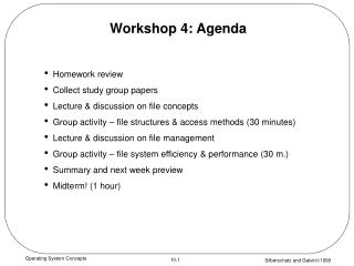 Workshop 4: Agenda