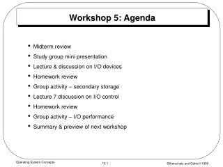 Workshop 5: Agenda