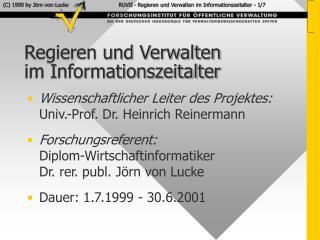 Regieren und Verwalten  im Informationszeitalter