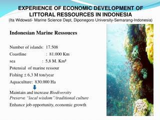 Indonesian Marine  Ressouces Number of islands:  17.508  Coastline    :  81.000 Km