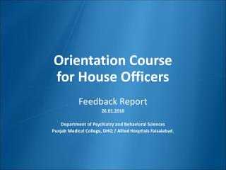 Orientation Course  for House Officers