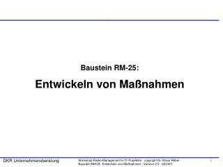 Baustein RM-25: Entwickeln von Maßnahmen