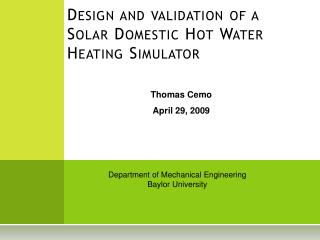 Design and validation of a Solar Domestic Hot Water Heating Simulator