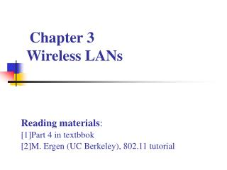 Chapter 3  Wireless LANs