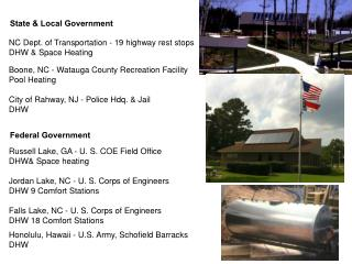 NC Dept. of Transportation - 19 highway rest stops	 DHW & Space Heating