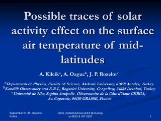 Possible traces of solar activity effect on the surface air temperature of mid-latitudes