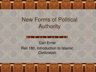New Forms of Political Authority