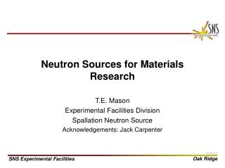 Neutron Sources for Materials Research