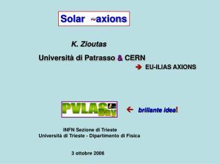Solar   ~ axions