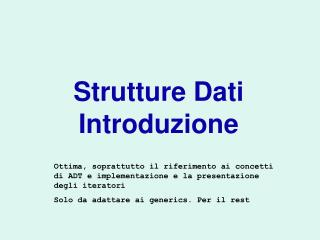 Strutture Dati Introduzione