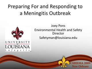 Preparing For and Responding to a Meningitis Outbreak