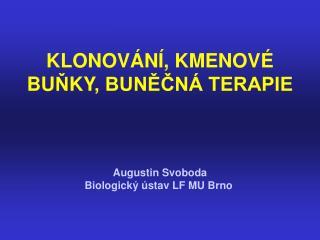KLONOVÁNÍ , KMENOVÉ BU Ň KY , BUNĚČNÁ TERAPIE Augustin Svoboda Biologick ý ústav LF MU Brno