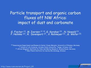 Particle transport and organic carbon fluxes off NW Africa: impact of dust and carbonate