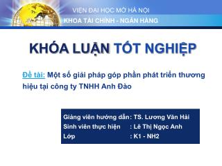 Đề tài: Một số giải pháp góp phần phát triển thương hiệu tại công ty TNHH Anh Đào
