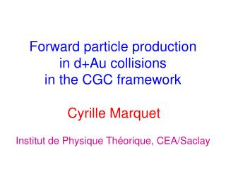 Forward particle production in d+Au collisions in the CGC framework