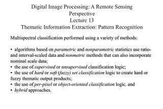 Digital Image Processing: A Remote Sensing Perspective Lecture 13