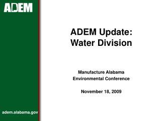 ADEM Update: Water Division