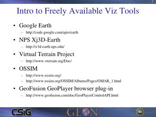 Intro to Freely Available Viz Tools