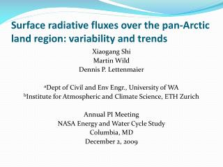 Surface radiative fluxes over the pan-Arctic land region: variability and trends