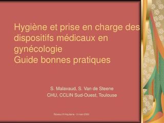Hygiène et prise en charge des dispositifs médicaux en gynécologie Guide bonnes pratiques
