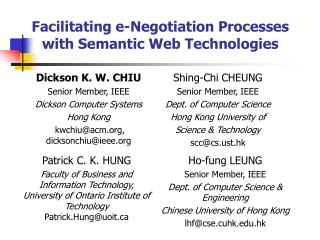 Facilitating e-Negotiation Processes with Semantic Web Technologies