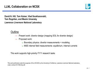 LLNL Collaboration on NCSX