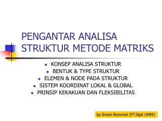 PENGANTAR ANALISA STRUKTUR METODE MATRIKS