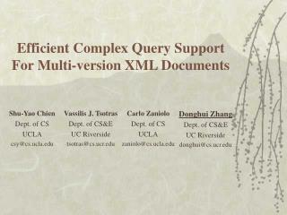 Efficient Complex Query Support  For Multi-version XML Documents