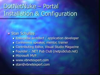 DotNetNuke – Portal Installation & Configuration