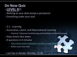 Do Now Quiz