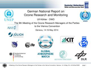 German National Report on  Ozone Research and Monitoring Ulf Köhler - DWD