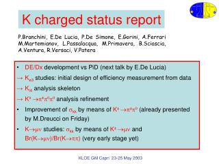K charged status report