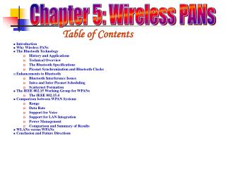 Chapter 5: Wireless PANs