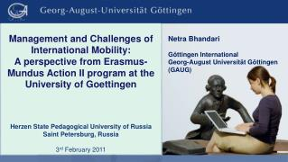 Netra Bhandari Göttingen  International Georg-August Universität Göttingen (GAUG)