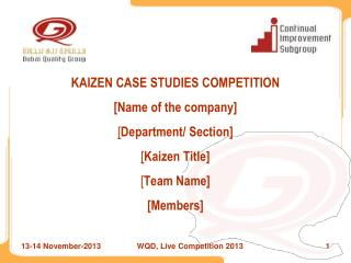 WQD, Live Competition 2013