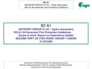 SC A1 ADVISORY GROUP A1.02 � Hydro Generators    WG A1.04 Generator Fire Protection Guidelines