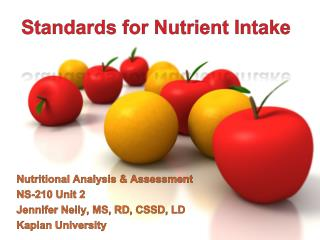 Standards for Nutrient Intake
