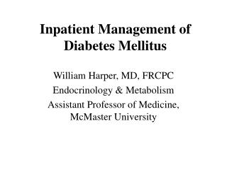 Inpatient Management of Diabetes Mellitus