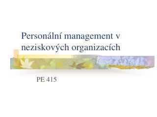 Personální management v neziskových organizacích