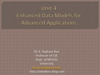 Unit-4 Enhanced Data Models for Advanced Applications