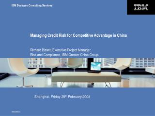 Managing Credit Risk for Competitive Advantage in China